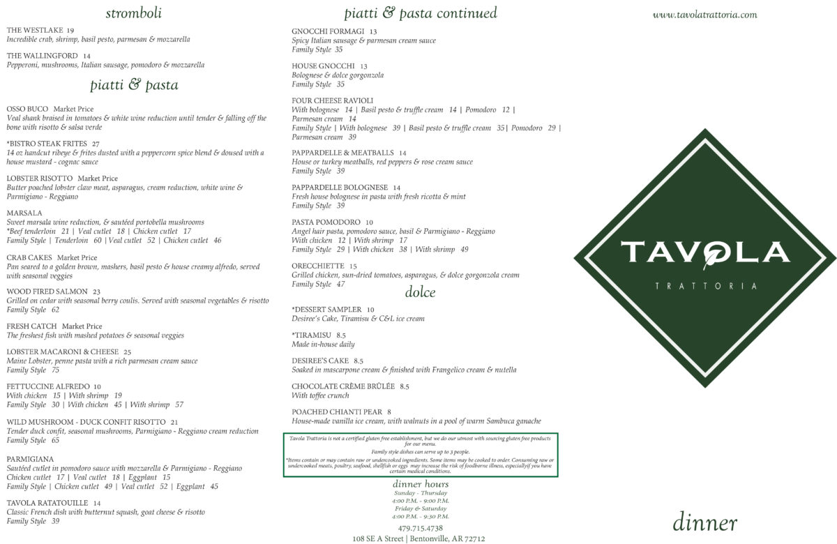 Tavola Restaurant Bentonville Tavola Trattoria Bentonville Menu And Reviews | Nwa Food