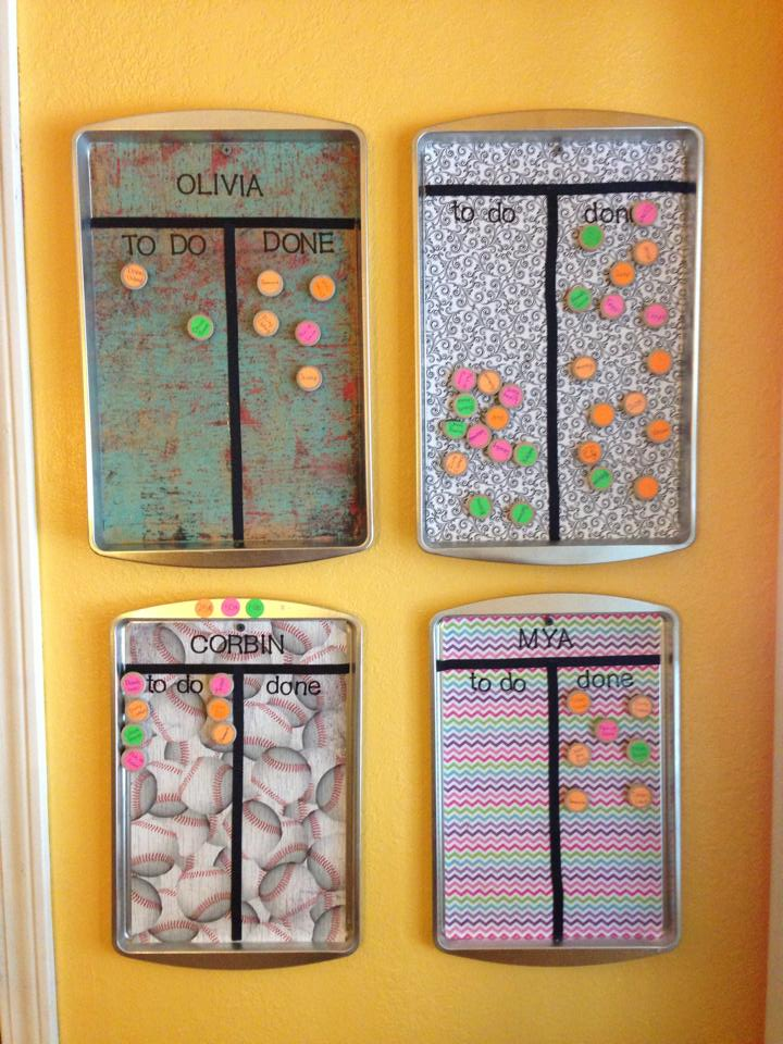 Crafty Mama Cute chore charts made from cookie sheets! -