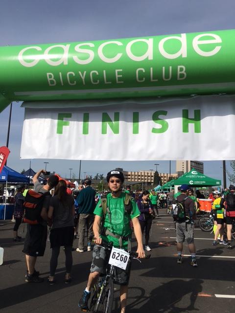 Congratulations! John Liu finishes the 21 mile Emerald City Bike Ride.