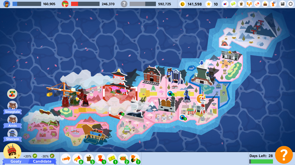 """A map of 'Spring Island' as seen in 'Political Animals,' a level loosely based on Japan. (Courtesy screenshot of """"Political Animals"""" from Ryan Sumo.)"""