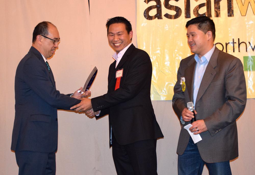 From left: Award presenter and sponsor representative Meng Lo (Aegis), honoree Geeman Yip (BitTitan), and honoree introducer Dan Shih (candidate for 43rd legislative district).