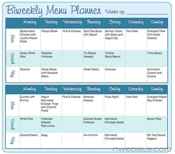Biweekly Menu Planning Form (Free Downloadable) Northwest Edible Life