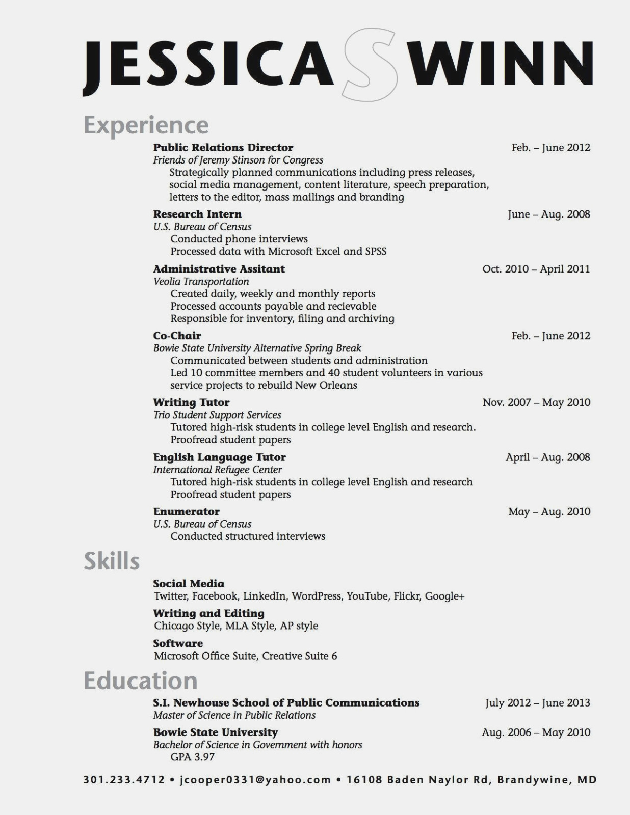 examples of an information science student resume