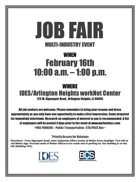job fair Arlington Hts 2 16 16