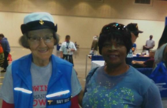 NWVU member Mellody Frazier Navy veteran and Mrs. Adrienne Mohamed, Navy Wave Korean Conflict ( 1950 -1962 )