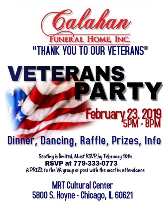 Calahan Veterans Party 2019 Flyer