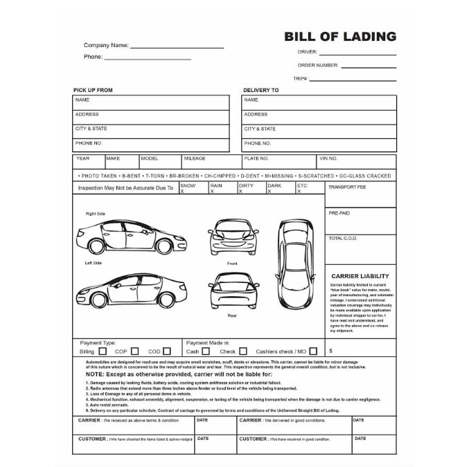 The Auto Transport Bill of Lading National Express