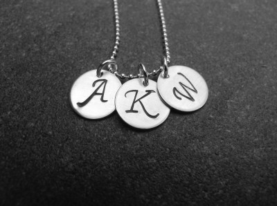Grande Triple Fancy Handstamped Initial Necklace
