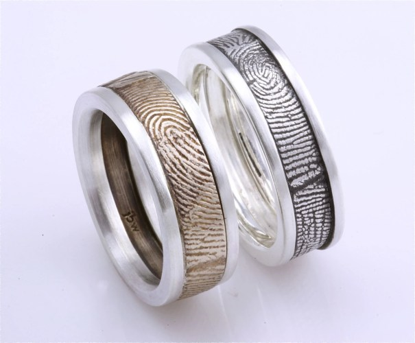 wedding rings for alternative bride gamer wedding rings I think these Finger Print Wedding Bands by Fabuluster create such a unique touch