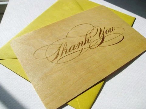 Gold 'Thank You' wooden card w/yellow envelope