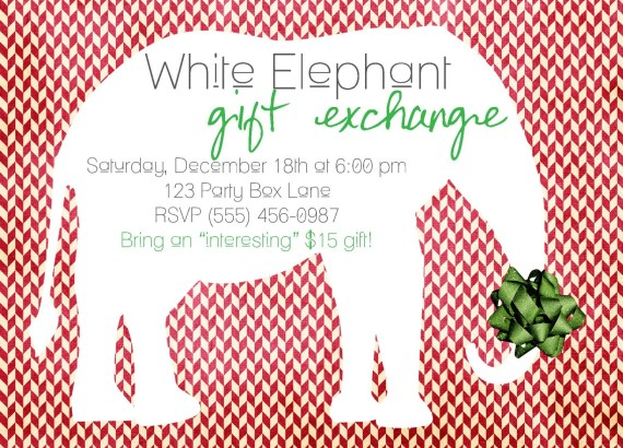 White Elephant Gift Exchange Party Invites (20 Printed Invites)