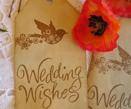 Wish Tree Wedding Tags - Pretty Floral Bird - Coffee Stained