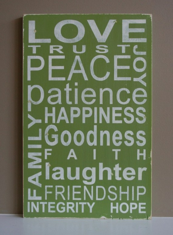 Family Values Typography Word Art in Light Green - Makes a wonderful Wedding, Anniversary or House Warming Gift