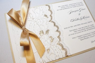 Wedding Invitations With Lace And Gold