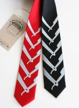 Cut Throat, skinny microfiber necktie, black or red