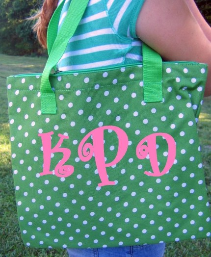 Personalized Green with White Polka Dots Tote Bag Monogrammed