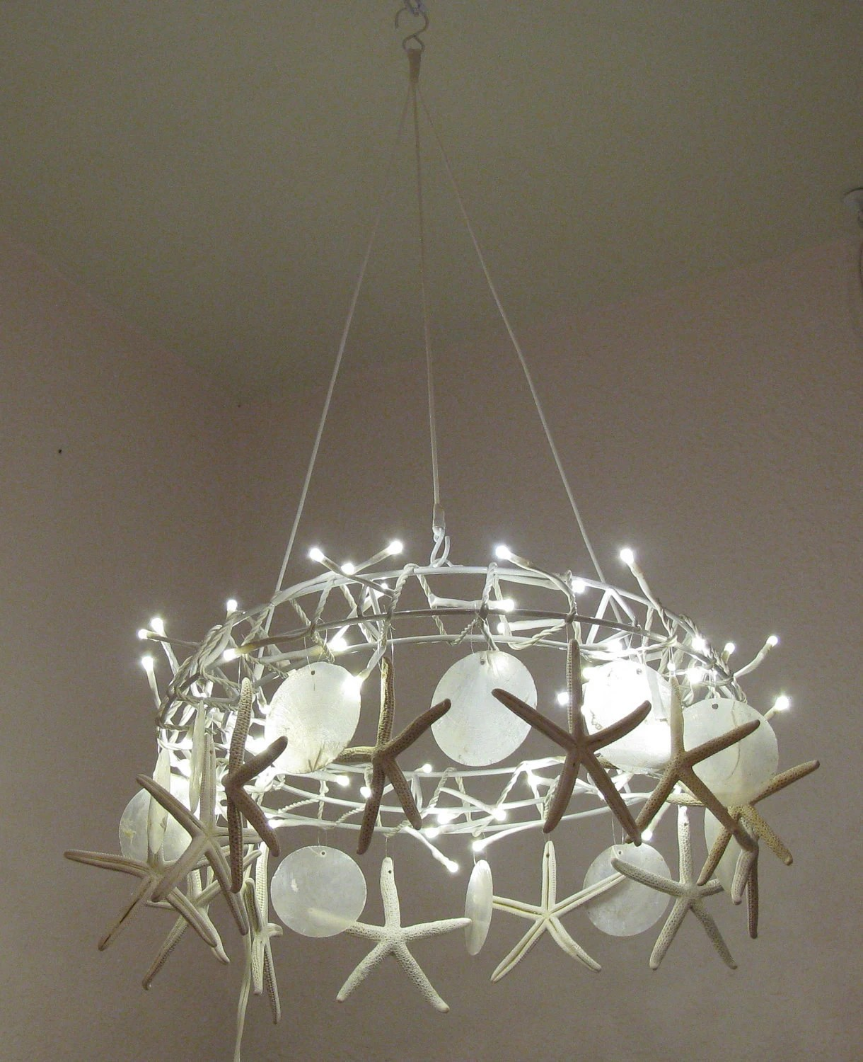 Beach Hanging Lights Handcrafted Starfish Chandelier Tiny White Led Lights