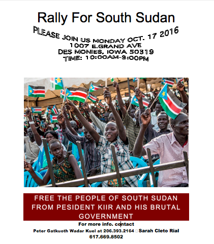 RALLY: FREE THE PEOPLE OF SOUTH SUDAN FROM PESIDENT KIIR AND HIS BRUTAL GOVERNMENT