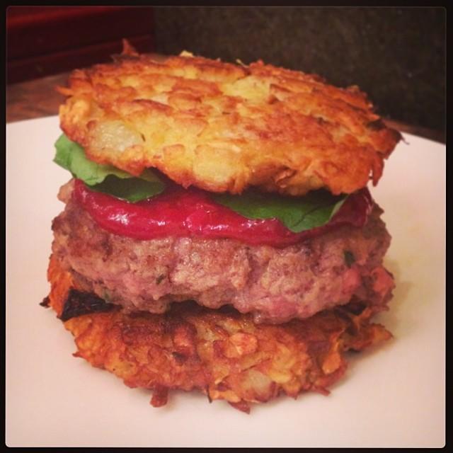 Thanksgivukkah Latke Burger!