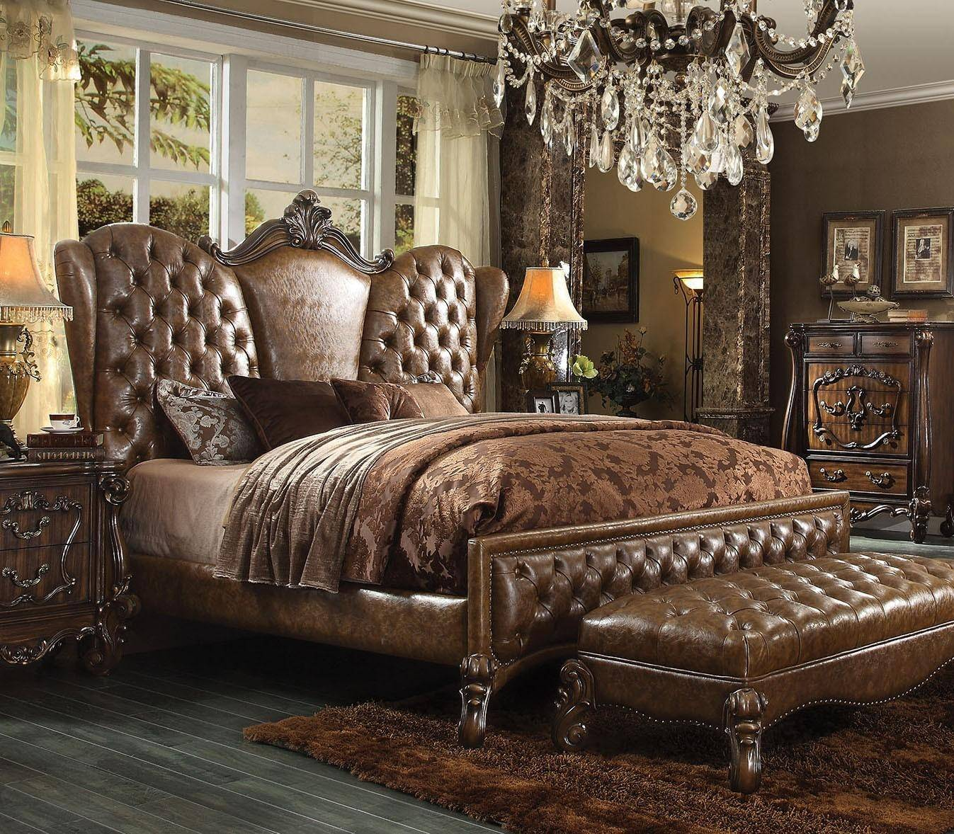 Bedroom Furniture Online Acme Furniture Versailles 21100q Brown Sleigh Bed Queen Traditional