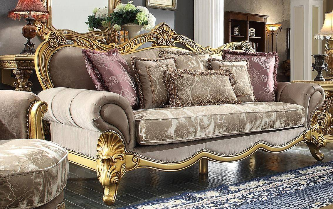 Homey Design Hd 1634 Victorian Upholstery Taupe Mixed Fabric Carved Wood Sofa Hd 1634