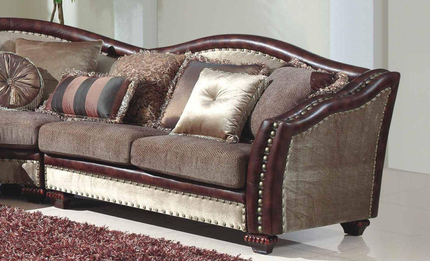 Mcferran Sf2780 Traditional Beige Brown Chenille Fabric Living Room Sectional Sofa Sf2780 Sectional