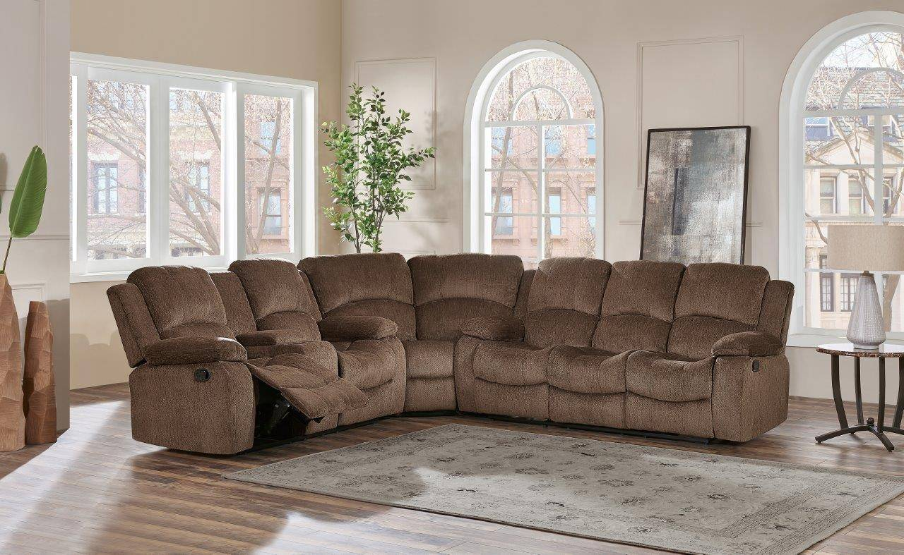 Global Furniture U3118c Br Sec Brown Chenille Fabric Reclining Sectional Sofa U3118c Br Sec Sectional