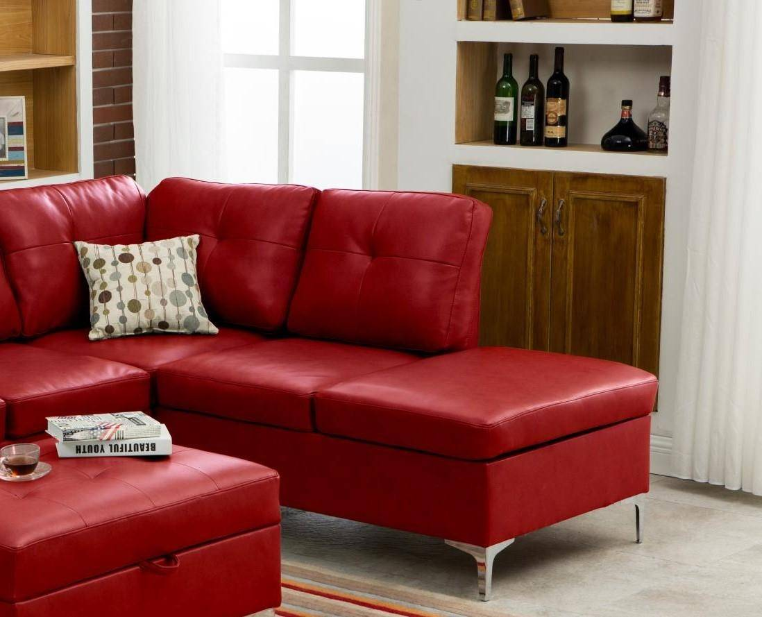 Myco Furniture Macy Modern Red Bonded Leather Sectional W Storage Ottoman 7601 Rd