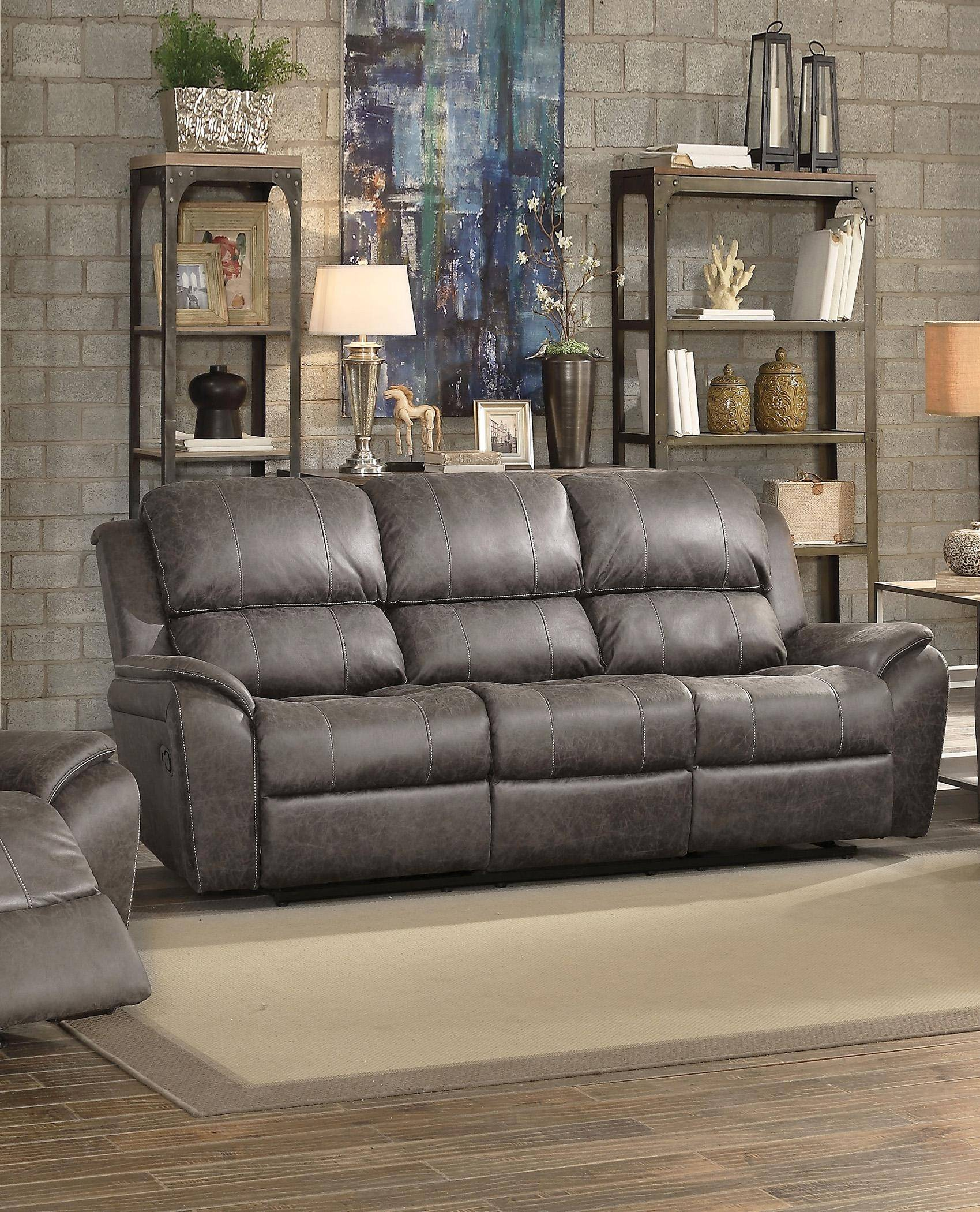 Gray Polished Microfiber Motion Sofa Set 3 Pcs Barnaby 52880 Acme Contemporary Barnaby 52880 Set 3