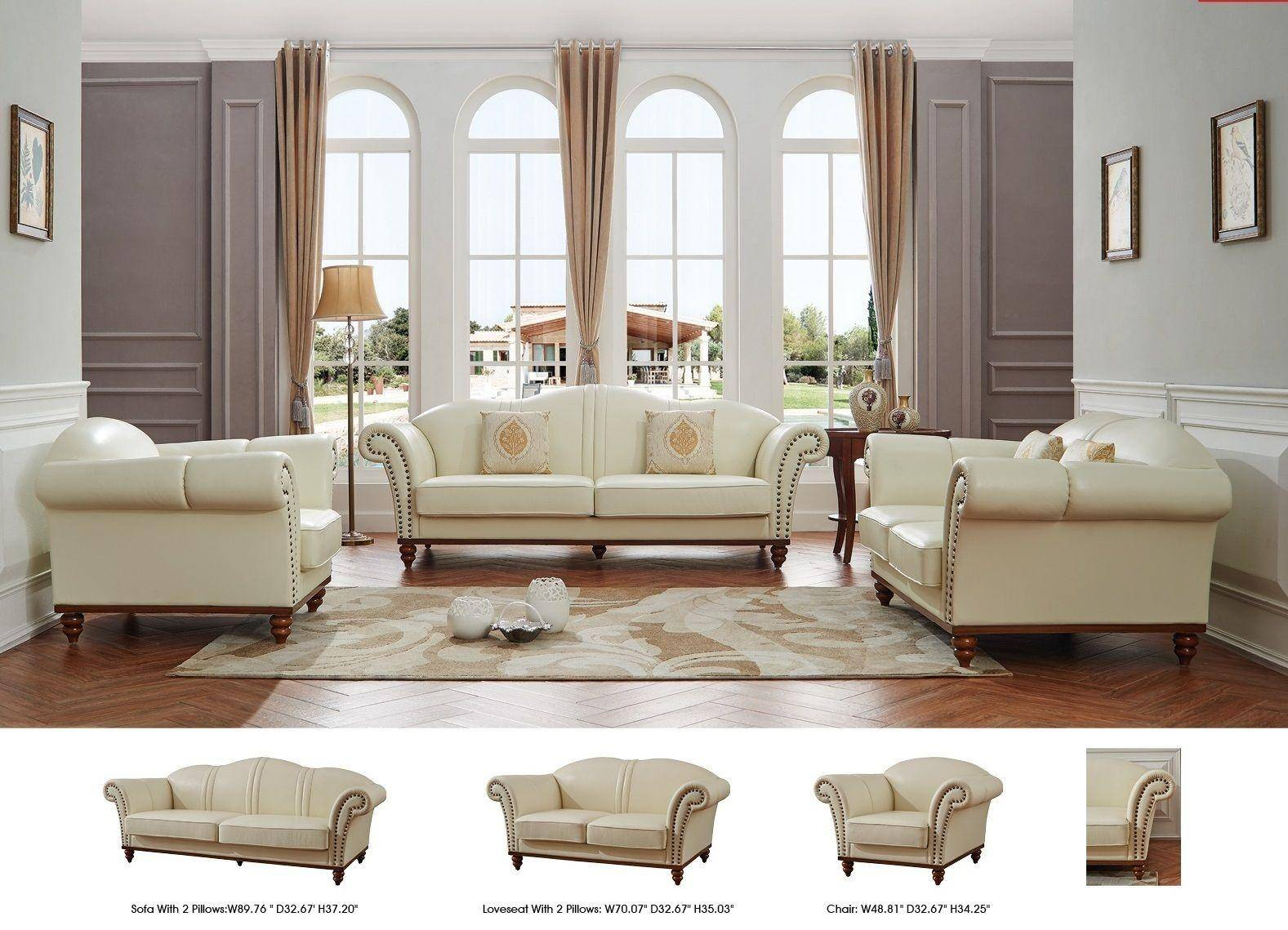 Sofa Set On Sale Esf 2601 Ivory Italian Leather Living Room Sofa Set 2pcs Modern