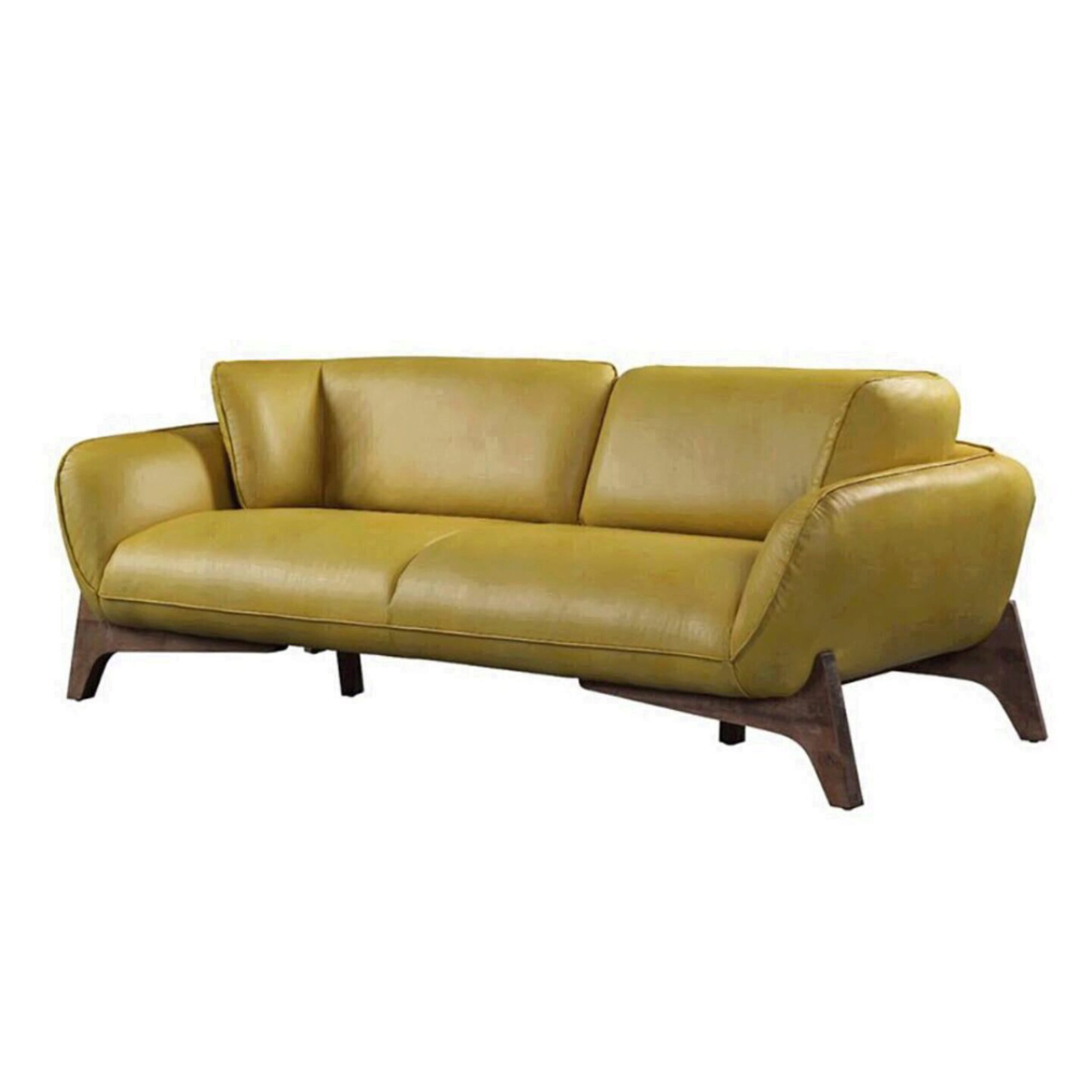 Mustard Top Grain Leather Sofa Pesach 55075 Acme Contemporary Modern Pesach 55075