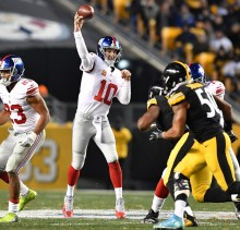 PITTSBURGH, PA - DECEMBER 04:  Eli Manning #10 of the New York Giants attempts a pass in the first half during the game against the Pittsburgh Steelers at Heinz Field on December 4, 2016 in Pittsburgh, Pennsylvania. (Photo by Jamie Sabau/Getty Images)