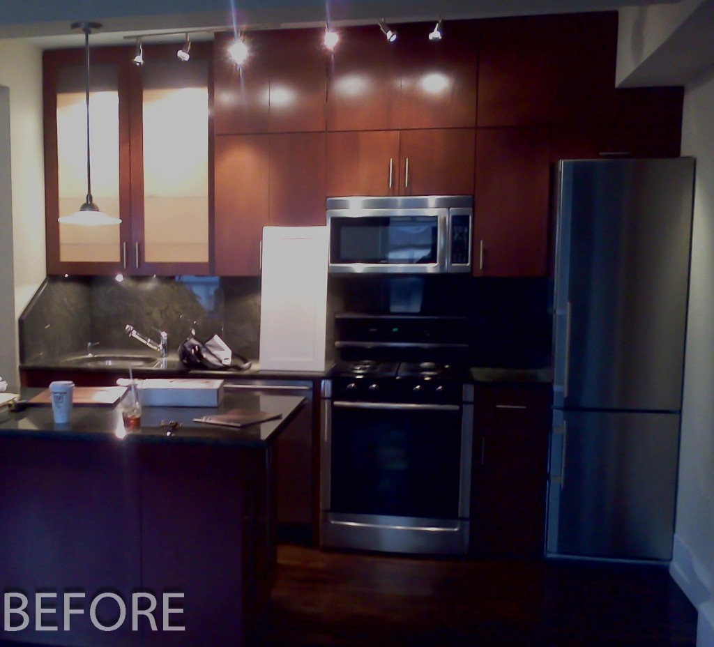 Kitchen Cabinet Refacing Nyc Dark Stained Shaker Cabinets Upper West Side New York