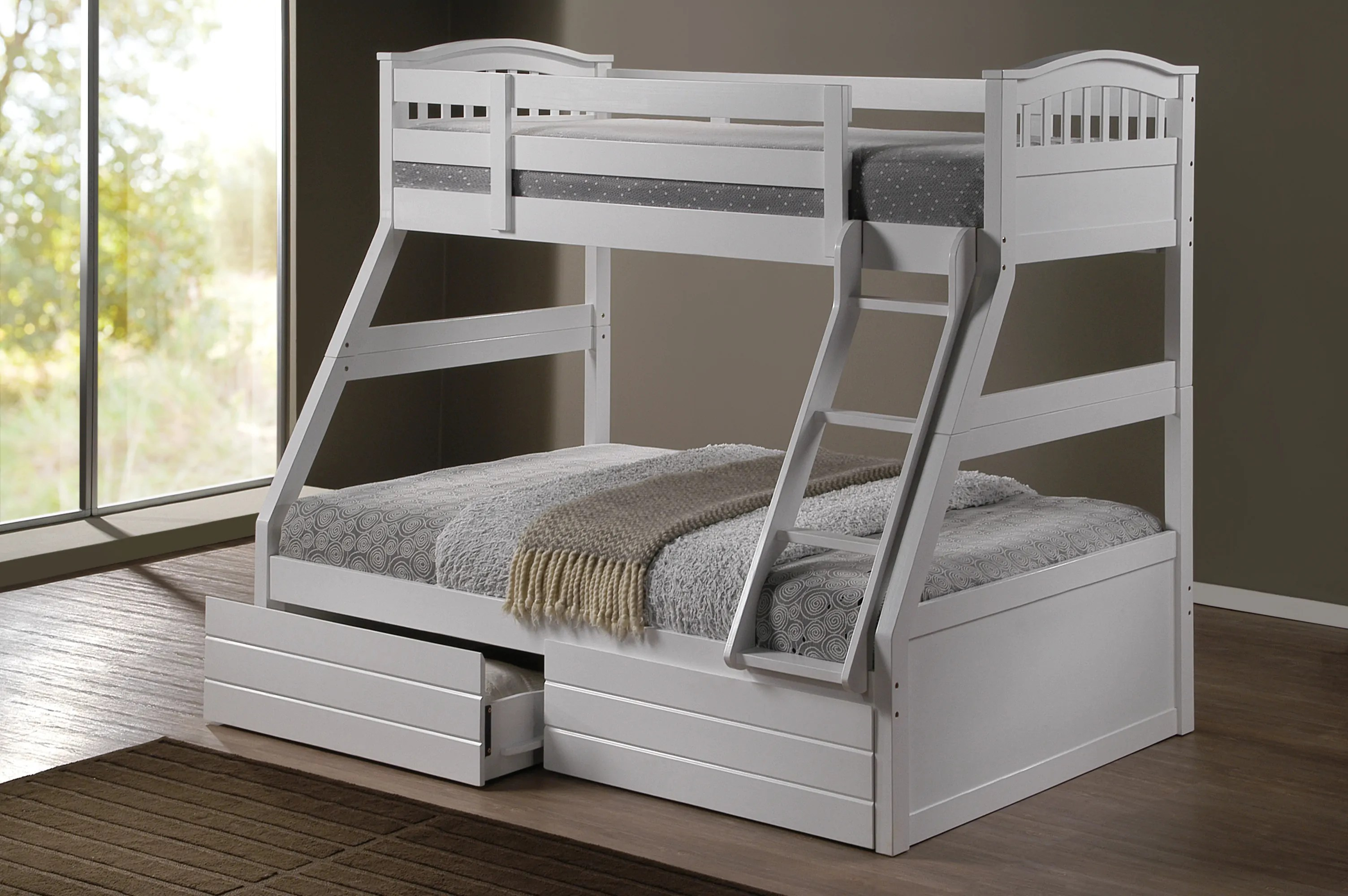 Double Bed With Drawers Ashley White Duo Double Single Bunk Beds With Drawers