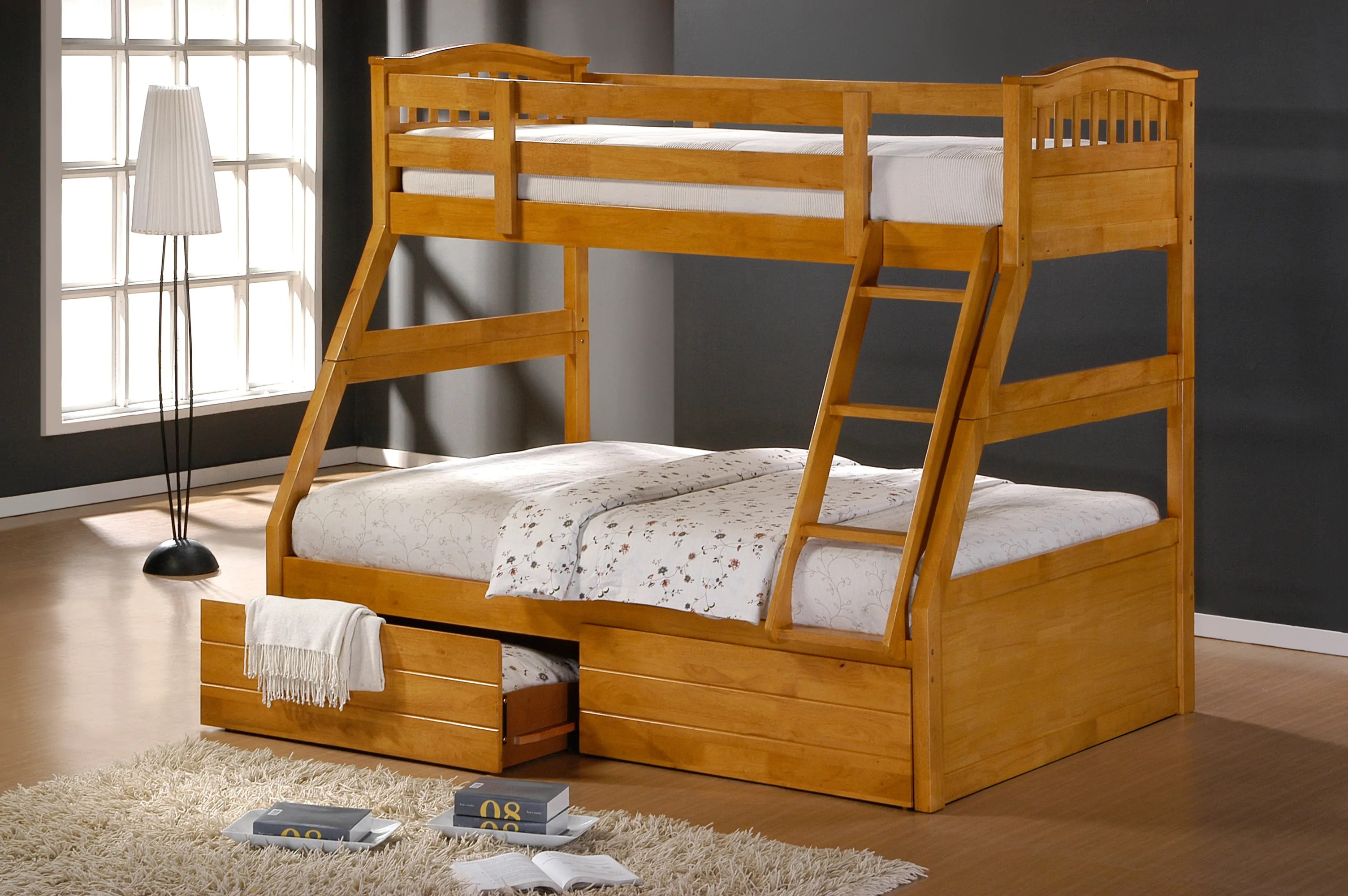 Double Bunk Beds Ashley Maple Duo Double Single Bunk Beds With Drawers