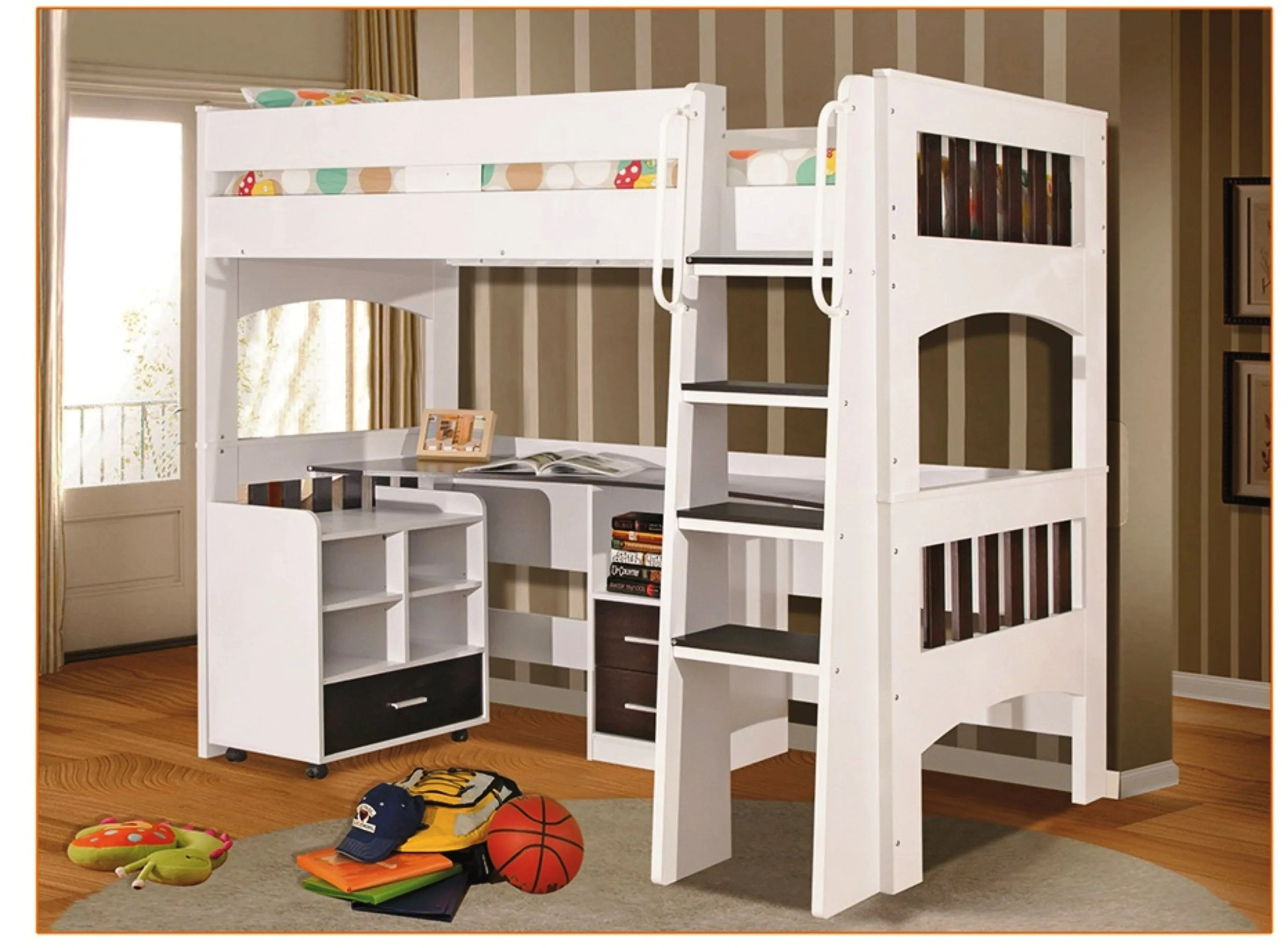 Double Bunk Bed With Desk Miami Single Loft Bunk