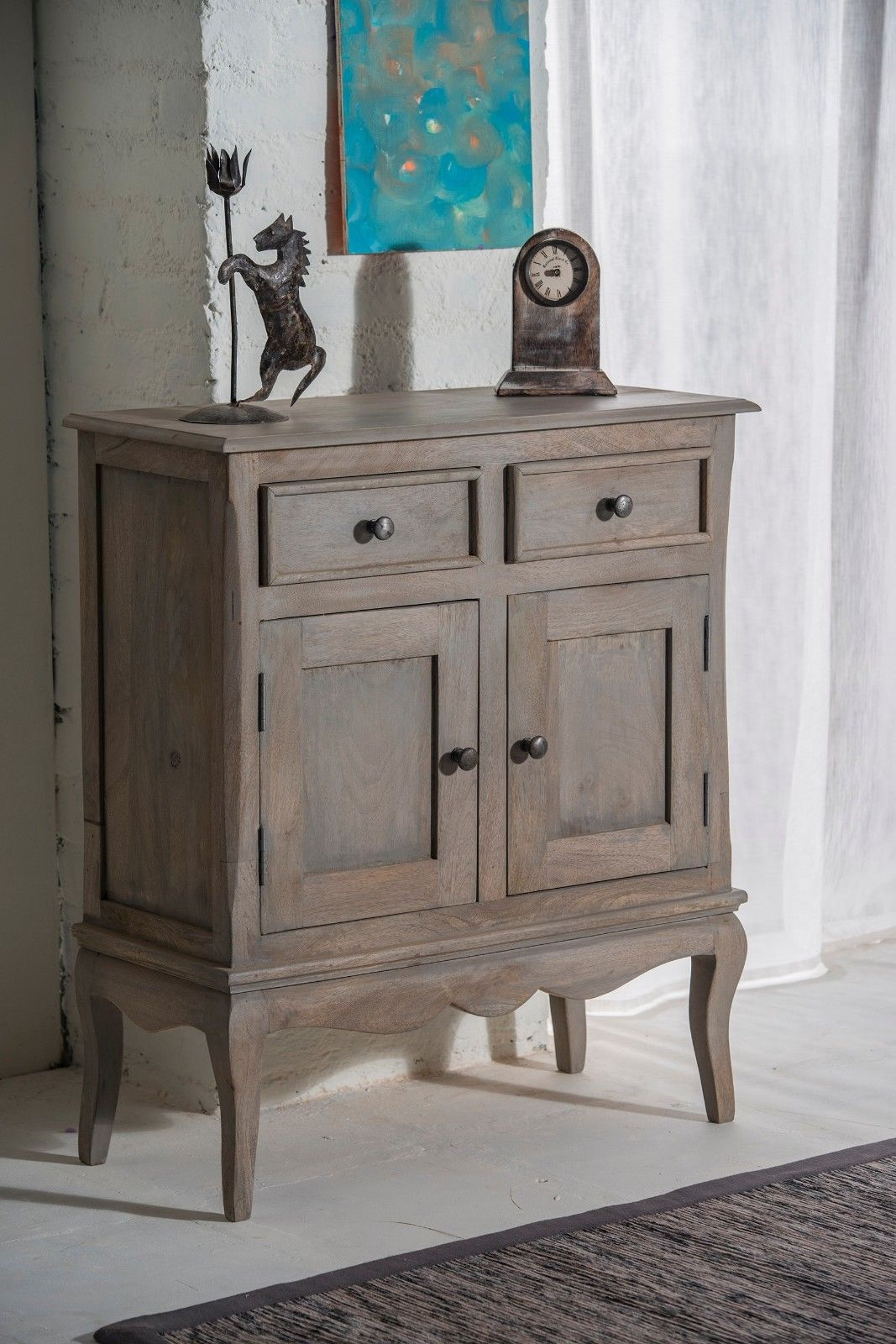 Sideboard Shabby Chic Bourdeilles Slim Sideboard Cupboard Hall Cabinet Solid Shabby Chic In Mango