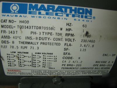 1 hp marathon electric 3 phase motor