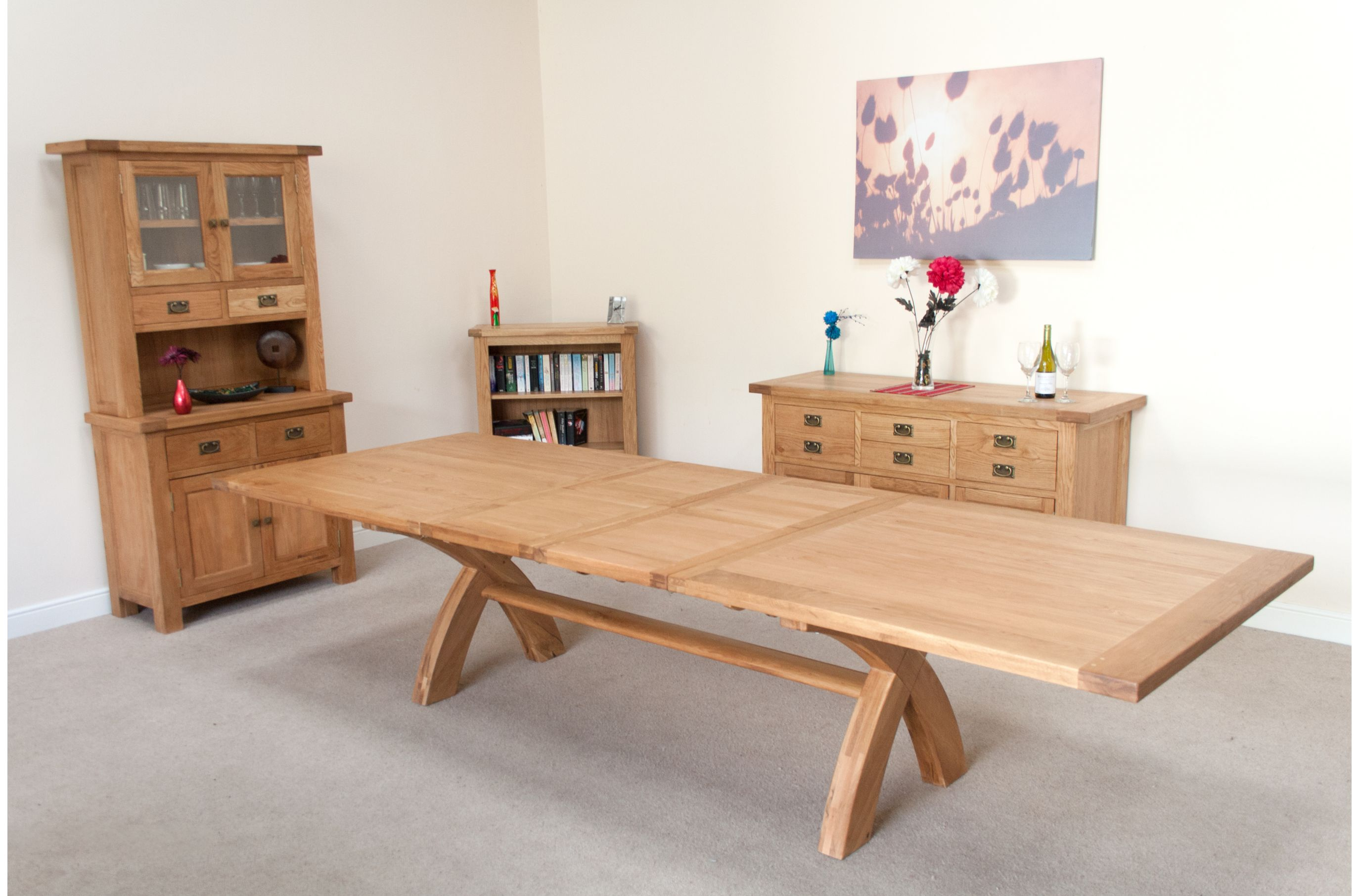 Extending Oak Table Large Dining Table Seats 10 12 14 16 People Huge Big Tables