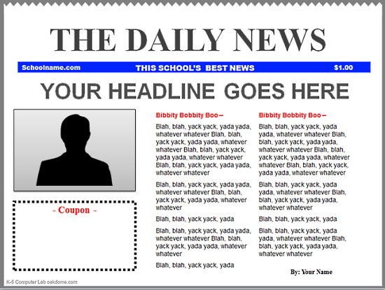 PowerPoint Newspaper Templates K-5 Computer Lab
