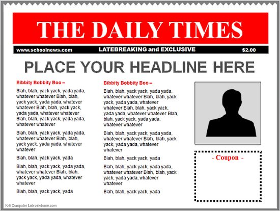 PowerPoint Newspaper Templates K-5 Computer Lab - news paper template