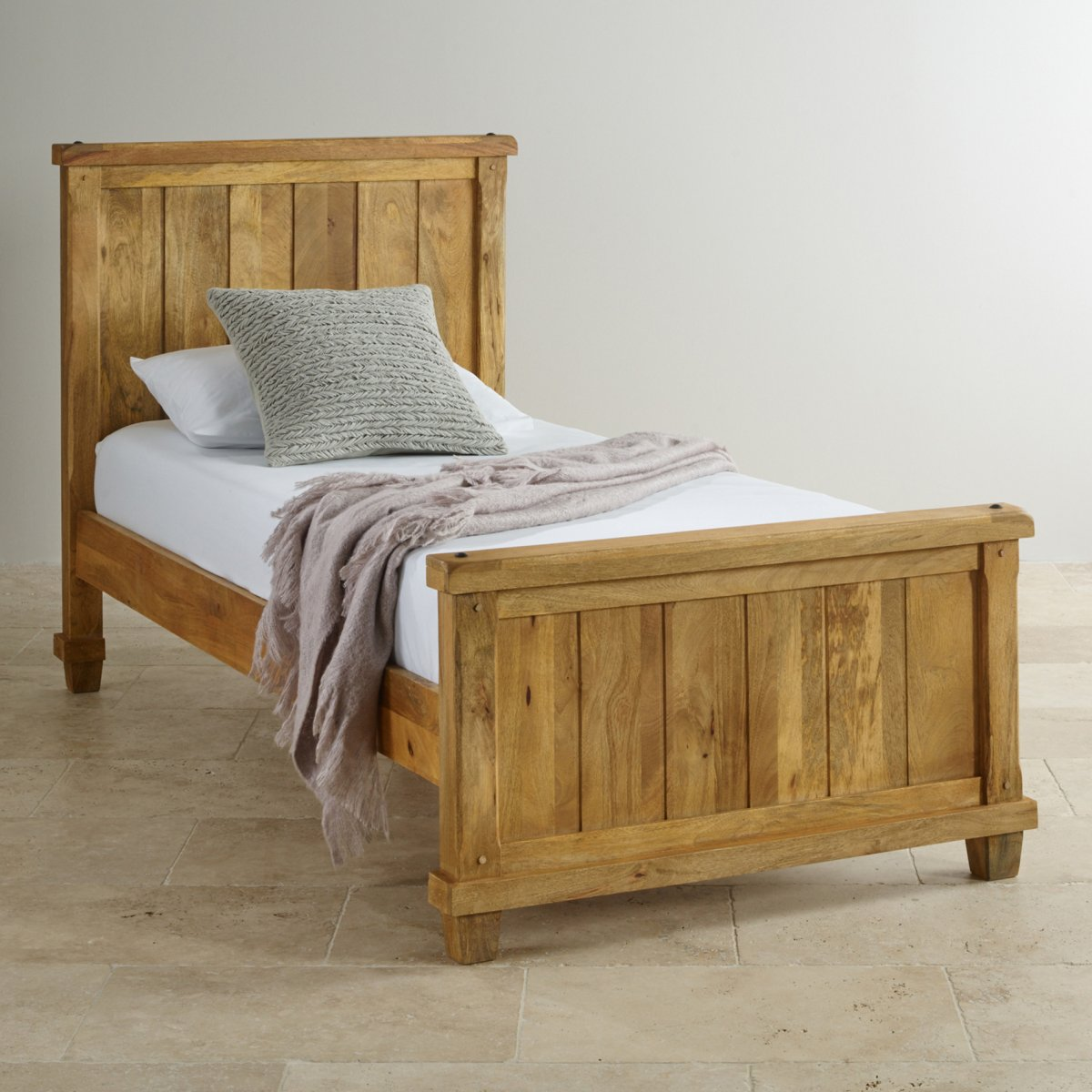 Black Mango Bed Heads Baku Light Natural Solid Mango Single Bed