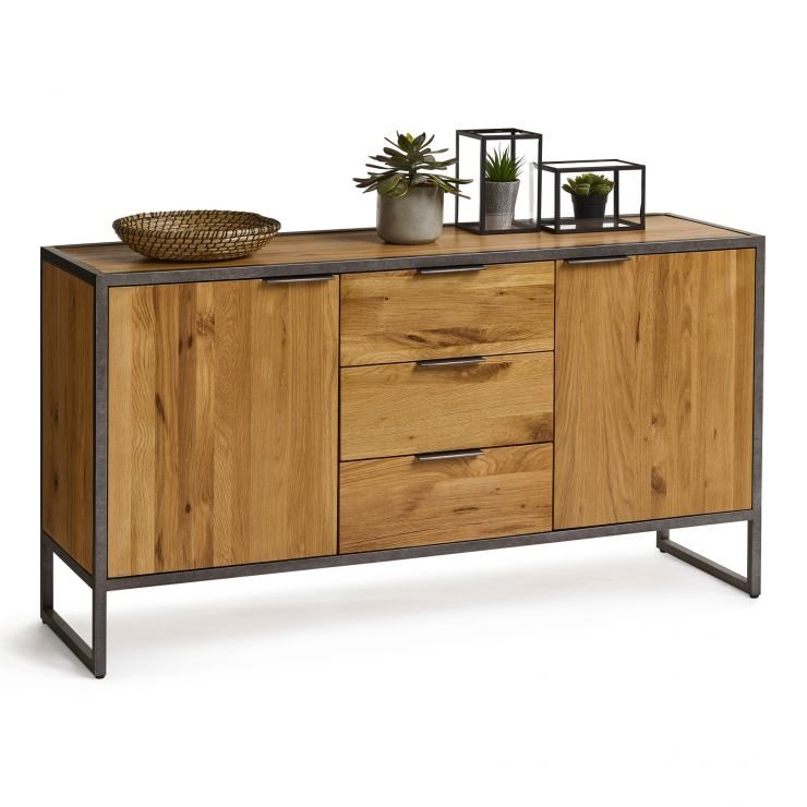 Large Industrial Sideboard Metal Sideboard Oak - Sideboard Industrial Metall
