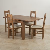 Rustic Oak Dining Set - 3ft Table with 4 Beige Chairs