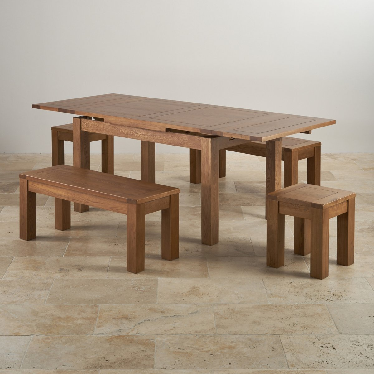 6 Ft Square Dining Table Rustic Oak Extending Dining Table 43 2 Benches And 2 Stools