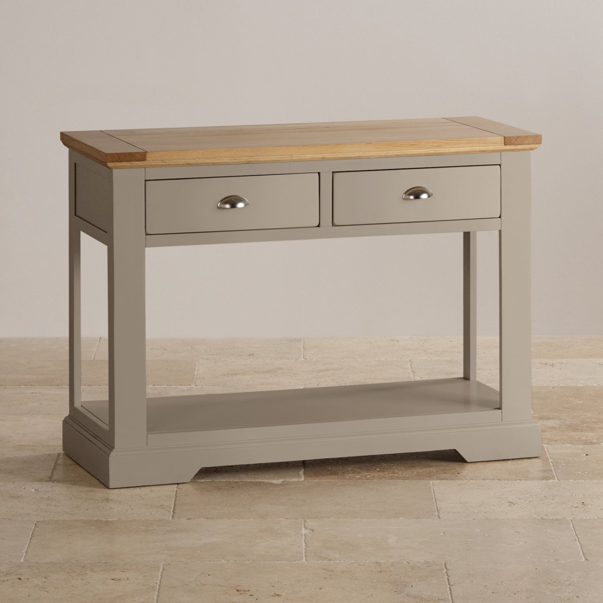 Table Consoles St Ives Grey Console Table With Brushed Oak Top