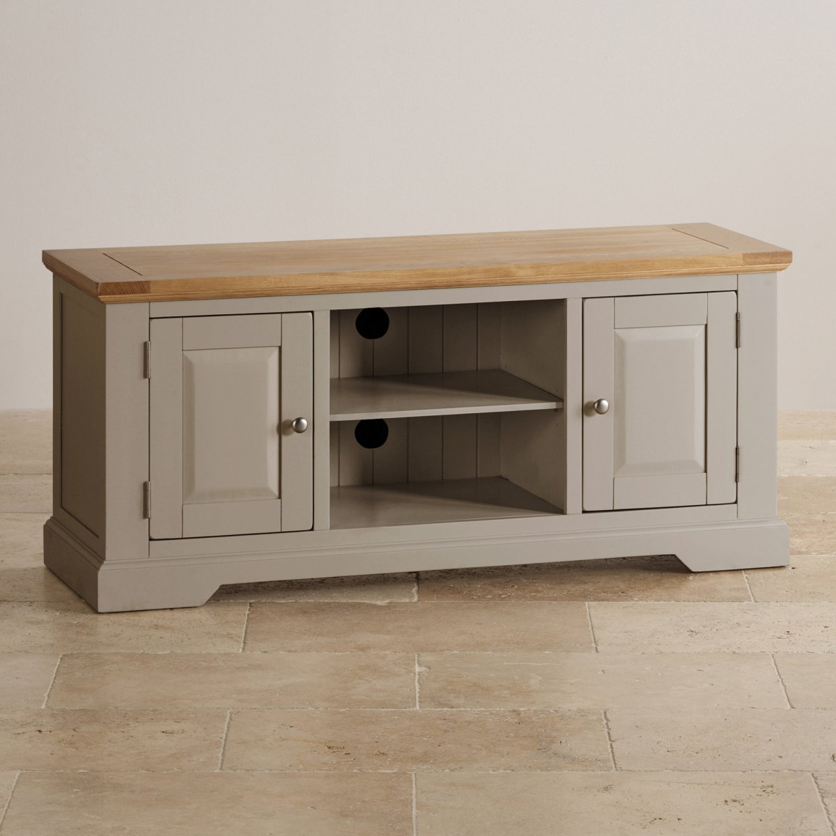 Tv Sideboard St Ives Grey Tv Unit With Brushed Oak Top | Oak Furniture Land
