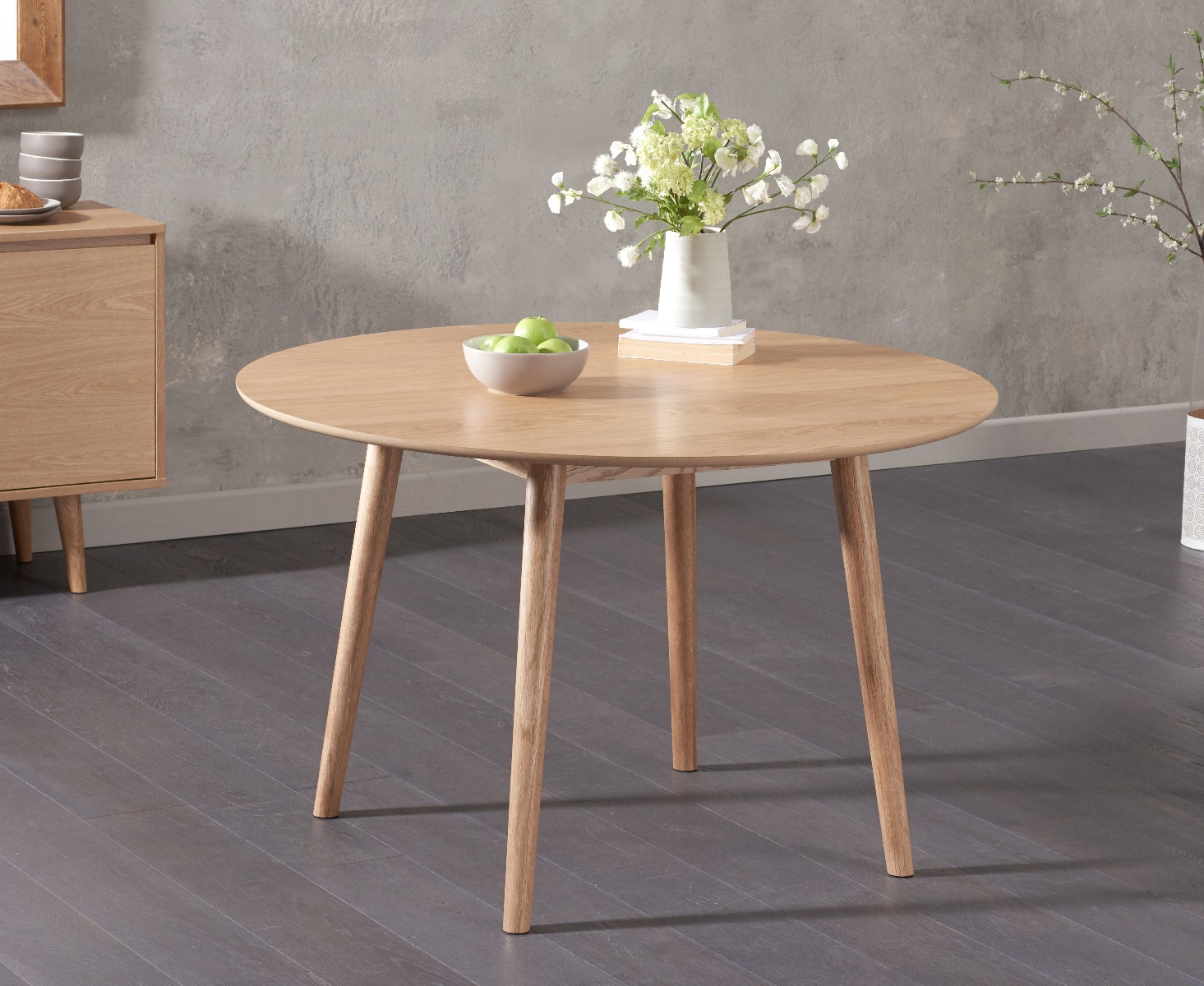Round Oak Dining Table Nordic 120cm Round Oak Dining Table