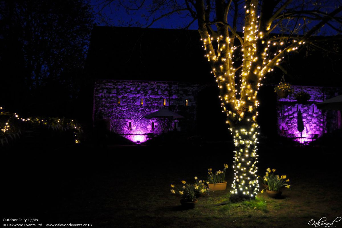 Outside Fairy Lights Outdoor Lighting Hire Oakwood Events