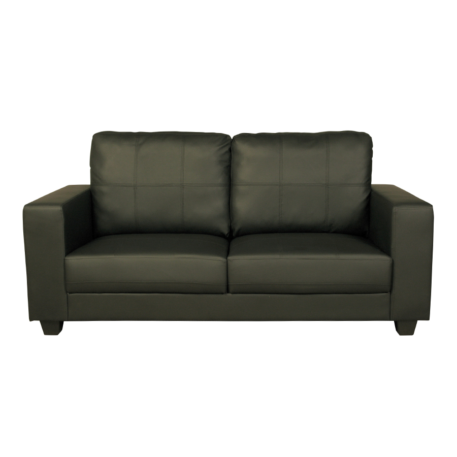 Queensbury Black Leather 3 Seat Sofa Low Prices Free Delivery
